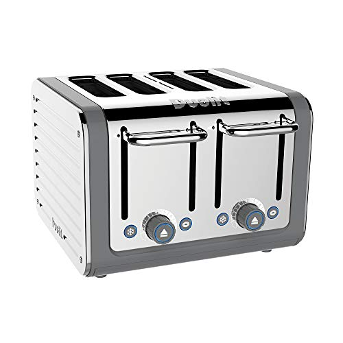 Dualit Architect 4 Slice Toaster | Stainless Steel with Grey Trim|Extra-Wide Slots–Peek and Pop Function–Patented Perfect Toast Technology–Matching Kettle and Sandwich Cage Available | 46526