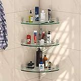 Klaxon Premium Transparent Glass Shelf for Bathroom/Wall Shelf/Storage Shelf (9x9 Inches - Pack of 3)