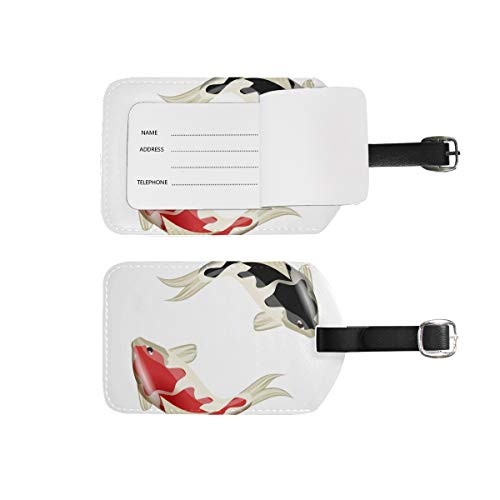Luggage Tags Address Name Holder,2Pcs Portable Identifier Label Set Checked Card Bag Decoration Travel Gear Gifts for Suitcases Bags Koi Fish