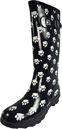 NORTY - Womens Hurricane Wellie Gloss Hi-Calf Paw Printed Rain Boot, Navy 39699-8B(M) US