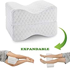 Coisum Knee Pillow for Side Sleepers - Upgraded Foldable & Expandable Leg Pillow for Sciatica, Back Pain, Leg, Hip, Joint Pain - Orthopedic Memory Foam Knee Pillow for Side & Back Sleepers, Pregnancy.