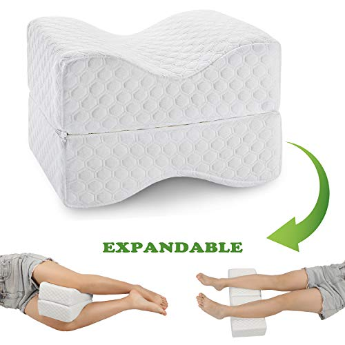 Coisum Knee Pillow for Side Sleepers - Upgraded Foldable & Expandable Leg Pillow for Sciatica, Back...