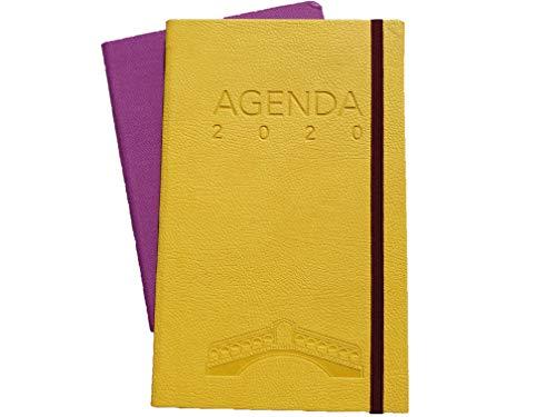 Cofanetto regalo con taccuino MIO e agenda Classica 2020 Venezia E-Taccuino, Settimanale 12 Mesi con Elastico e Segnalibro (giallo)