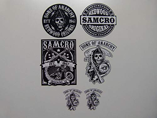 MG602 / Aufkleber Set - Breite je Sticker ca. 5,5cm Biker Motorrad Club Motorcycles Rocker Chopper Old School SOA Sons of Anarchy Samcro Vintage Retro Custom Skull Bobber Chopper