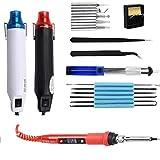 220V 300W 50Hz Pistola de aire caliente eléctrico de plástico/kit de pistola de calor con pinzas 80W LCD Soldadura LCD Herramientas de soldadura (Color : Set 1, Power : 220V)