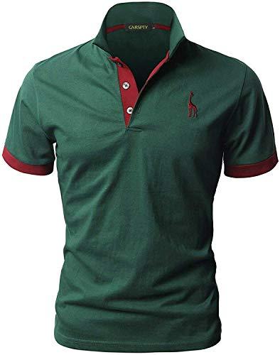 GNRSPTY Polo da Uomo Manica Corta Ricami Fulvi Golf Poloshirt Camicia Tennis T-Shirt Estate,Verde,L