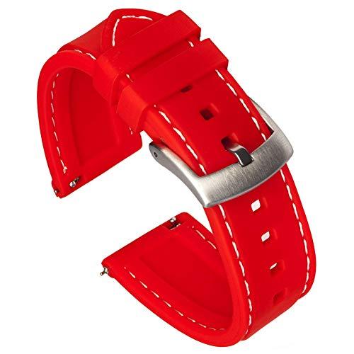 Punto de Referencia Correas Costuras 22mm Caucho de Silicona Rojo de la Pulsera + Herramienta de eliminación de Barra de Resorte (Color Blanco)