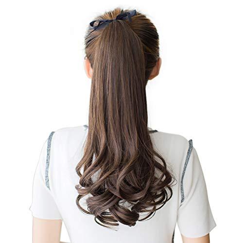 DEEKA ポニーテール ウィッグ エクステ ロング ふわふわ巻き髪 耐熱 つけ毛 (ブラックブラウンー45cm)