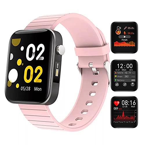 HQPCAHL Smartwatch Reloj Inteligente Mujer Hombre con Frecuencia Cardíaca/Temperatura/Sueño/Presión Arterial/Oxígeno En Sangre, Reloj Deportivo con Linterna, Pulsera Actividad Inteligente,Rosado