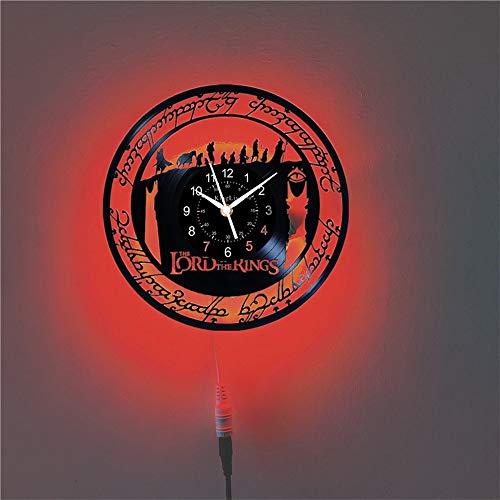 El Señor de los Anillos Reloj de Pared de Vinilo Silencioso Registro Negro 30 cm DIY Arte Vintage Decoración para Salón Moderno (con LED)