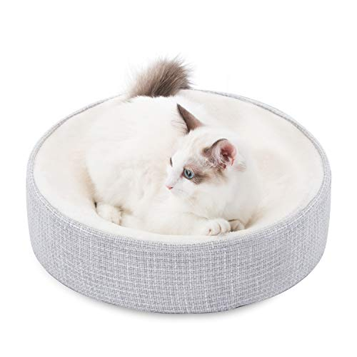 HIPIPET Cat Bed Memory Foam for Indoor Cats Fleece Round Kitten Small Dog Bed Egg-Crate Foam Orthopedic Cat Bed with Removable Cushioned and Cat Bed Covers Beds
