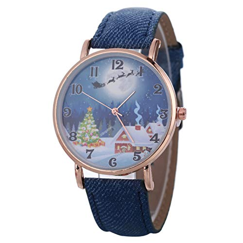 Sanwood Quarz-Armbanduhr mit Weihnachtsmotiv, Unisex-Zifferblatt, Kunstleder-Band, analoge Ziffernanzeige, Damen-Armbanduhr