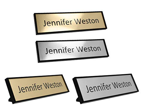 """Custom Office Name Plate Kit – Personalized – Print at Home – Desk or Wall Mounted – 2"""" x 8"""" – Includes Mounting Hardware and 4 Printable Name Sheets"""