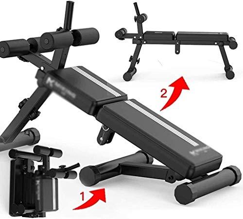 ALYR Verstellbares Hantelbank, Trainingsbank vielseitig Fitnessbank Klappbare Supine Board/Sit-Up-Bank/RüCkenlage Bord für die Ganzkörperübung,Black_141x83