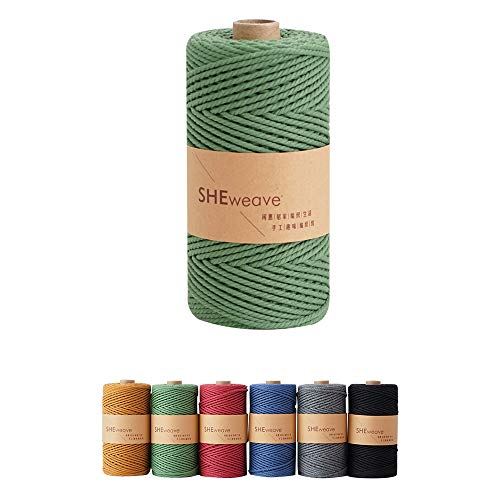 Macrame Cord,Natural Cotton Macrame Rope,3mm×100m(About 109yard) Cord Rope for Macrame,Wall Hanging,Plant Hanger,DIY Craft Making,Knitting (Green)