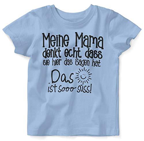 Mikalino Baby/Kinder T-Shirt mit Spruch für Jungen Mädchen Unisex Kurzarm Meine Mama Denkt echt | handbedruckt in Deutschland | Handmade with Love, Farbe:Sky, Grösse:92/98
