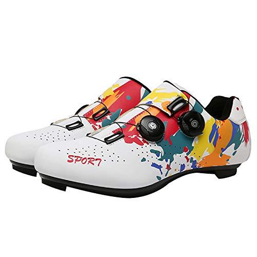Zapatillas MTB, Calzado de Bicicleta de Carretera con Autobloqueo, Calzado Deportivo de MTB Transpirable, Calzado de Ciclismo y Senderismo con AmortiguacióN Antideslizante (White,EU-44)