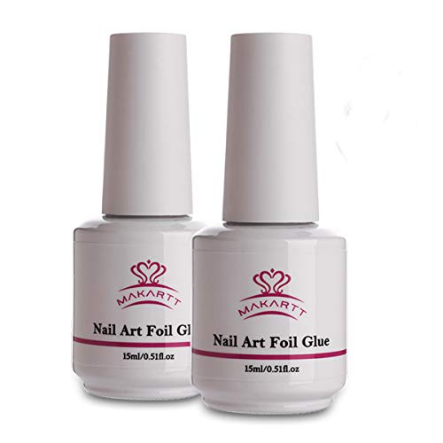 Makartt Nail Art Foil Glue Gel for Foil Stickers Nail Transfer Tips Manicure Art DIY 15ML 2 Bottles...