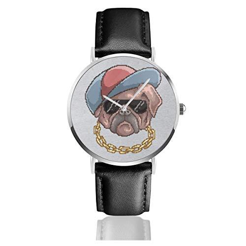 Unisex Business Casual Hund mit Baseball Cap und Kette Pixel Art Uhren Quarz Leder Uhr mit schwarzem Lederband für Männer Frauen Junge Kollektion Geschenk