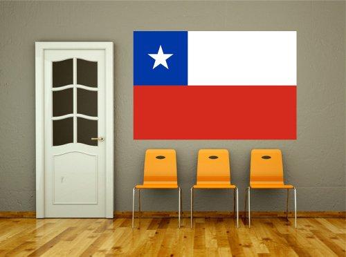 Kiwistar Wandtattoo Sticker Fahne Flagge Aufkleber Chile 80 x 53cm