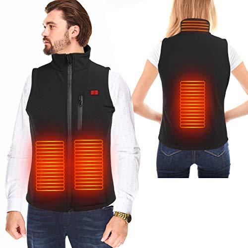 [2020 Aktualisiert] Beheizte Weste USB Lade Heizweste für Herren Damen, Elektrische Beheizte Jacke Beheizbare Weste Jacke für Outdoor Wandern Motorrad, Heizjacke für Winter Jagd (XL)