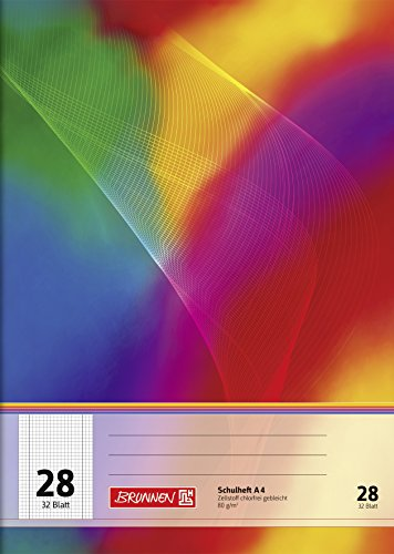 Brunnen 104432802 Schulheft A4 (32 Blatt, 5 mm kariert, mit Rand, Lineatur 28)
