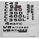 Emblema de estrella trasera para Mercedes Benz W204 W205 C43 C63 S AMG C200 C220 C240 C250 C300 C350 C320 4MATIC (1 par V8 Biturbo, negro brillante).