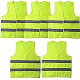 GOZAR 5 Pezzi Alto visibilità Veste Maglia Riflettente Veste Macchina Sicurezza Avvertimento Traffico Veicolo Annuale Ispezione Riflettente Veste Sicurezza Panciotto per Donne e Uomini-Verde