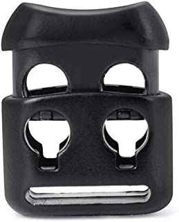 Double Hole Metal Cord Locks End Spring Stop Toggle Stoppers(Black,12 PCS)