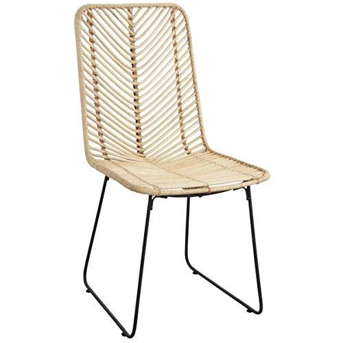 PEGANE Chaise en rotin et métal Noir - Dim : 46 x 58 x 90 x H 44 cm