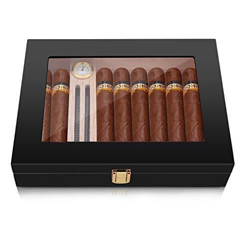 High Gloss Cigar Humidor Cigar Box for 10-15 Cigars, 100% Real Solid Spanish Cedar Wood, Luxury Hygrometer and Humidifier, Desktop Humidors Gloss Black