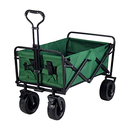 Outdoor Folding Utility Wagon Garden Foldable Wagon, All Terrain Camping Transport with Brakes, Outdoor Pull Wagon, for Beach Fishing Picnic, 2 Colors (Color : Green)
