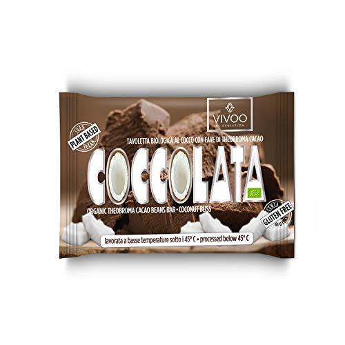 VIVOO RE-EVOLUTION   COCCOLATA - Cremoso al Cocco  Cioccolato Raw Biologico   No: Glutine, Latticini, Soia, OGM   Vegano, Kosher   Ricco di Nutrienti   1 tavoletta x 30 g
