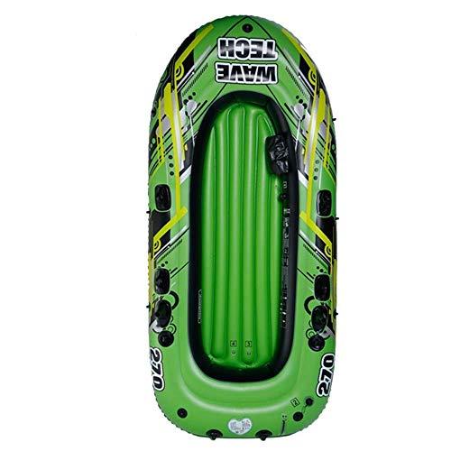 GUOE-YKGM Kayak Schlauchboot Faltkajak Aufblasbare Bequeme Kayaking Hovercraft-Freizeit-Klappboot 2-4 Personen Kanu-Marine-Sportfischen-Abenteuer-starker PVC-Plastik 270 * 150cm grünes Gewicht 400kg