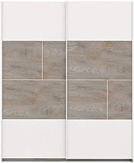 Tousmesmeubles Armoire 2 Portes coulissantes Chêne délavé/Blanc Mat - Florine - L 180 x l 61 x H 215 - Neuf