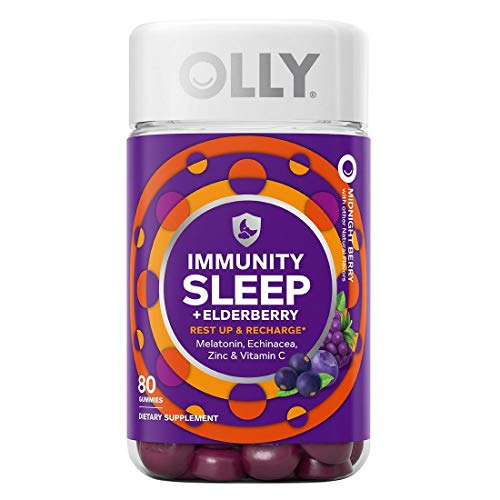 Olly Immunity Sleep Gummy, Melatonin, Elderberry, Echinacea, Zinc and Vitamin C, Sleep Aid (80 Gummies)