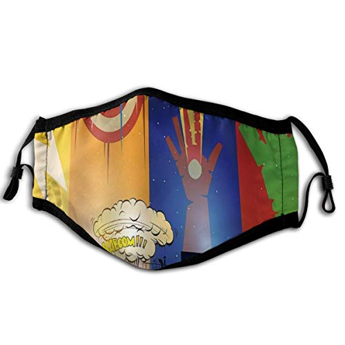 KIMDFACE Gesichtsbedeckung,Superheld Cartoon Stadtbild in der Nacht Captain Shield Street Fight Bunte blitzgrüne Hand,Sturmhaube Unisex Wiederverwendbar Winddicht Staubschutz Mund Bandanas Outdoor