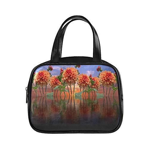 Bolso Hombre Dalias Otoño Dahlia Garden Dahlia Jewelry Dahlia Zip Bolso Reutilizable Tote Bags Pu Leather Top Handle Satchel Women Fashion Bag