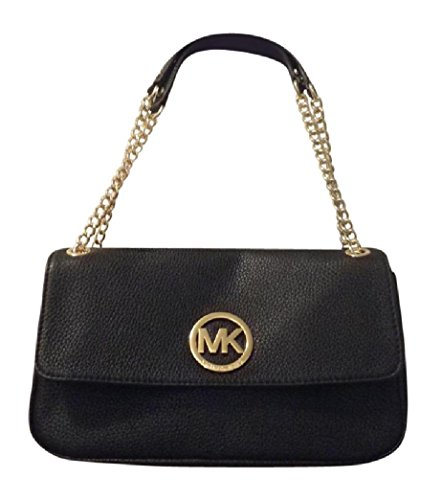 MICHAEL Michael Kors Fulton Small Shoulder Flap bag with old-tone hardware Flap with magnetic snap flap closure Exterior: Back slip pocket with magnetic snap closure Lined interior with 1 zipper pocket on the back wall, 1 slip pocket and 6 credit car...
