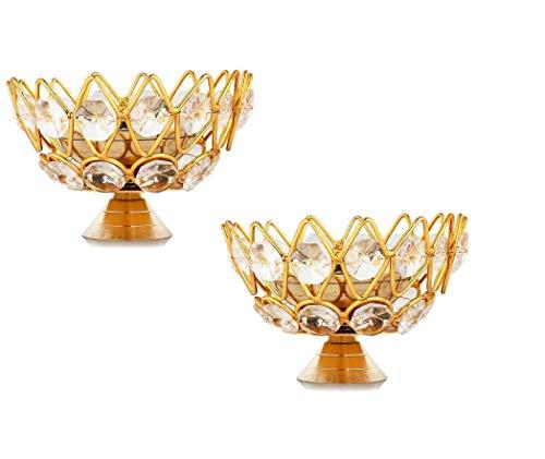 Kamal Öllampe mit Messingkristall, rund, Schalenform, tief, Akhand, Jyoti, für Zuhause, Tempel, Puja, Dekoration, Größe 10,2 cm, 2 Stück