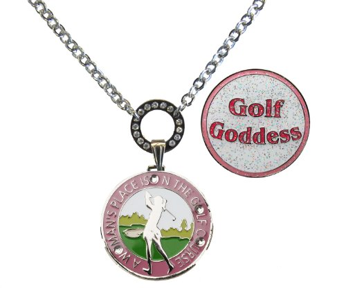 Magnetic Ball Marker Necklace with A Woman's Place is on The Golf Course Accented with Genuine Swarovski Crystals and Glitzy Golf Goddess