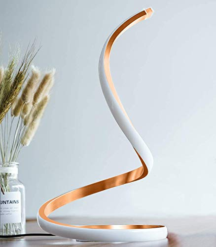 Ydshyth Lámpara De Mesa LED En Espiral Regulable, Lámpara De Escritorio LED Curvada, Atenuación Continua De 3 Temperaturas De Color, 12W,Oro