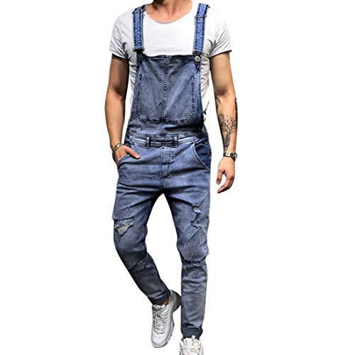 Shujin Herren Jeans Latzhose Lange Jeanshose Retro Denim Overalls Skinny Fit Streetwear Stone-Washed zerreißen Arbeitshosen Jumpsuit