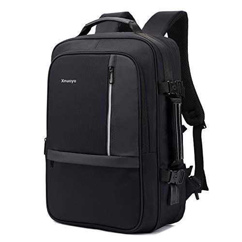 Xnuoyo 17.3 Pollici Espandibile Laptop Zaino Antifurto, Impermeabile TSA Zaino Porta PC Convertibile per Notebook (Nero)