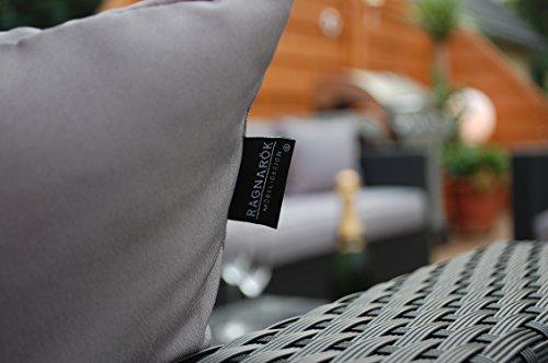 Ragnarök-Möbeldesign PolyRattan Lounge DEUTSCHE Marke - EIGNENE Produktion - 7 Jahre GARANTIE Garten Möbel incl. Glas und Polster (schwarz) Gartenmöbel - 9