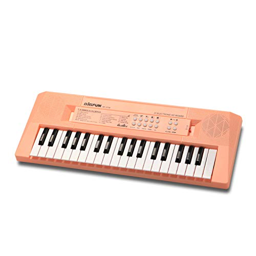 BIGFUN Kids Piano 37 Keys Multifunction Portable Electronic Kids Piano Musical Teaching Keyboard for Kids Children Early Learning Educational Toy with Double Speakers (Light Pink)