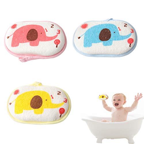 OBTANIM Baby Bath Sponge Soft Foam Scrubber Natural Sponge for Bathing, Shower Scrubber Body Sponge for Kids/Babies/Men/Women, Set of 3