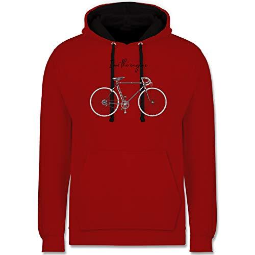 Shirtracer Radsport - I am The Engine - XS - Rot/Schwarz - Spruch - JH003 - Hoodie zweifarbig und Kapuzenpullover für Herren und Damen