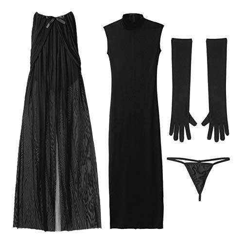 Disfraz de novia fantasma para mujer de moda con guantes de capa y tanga