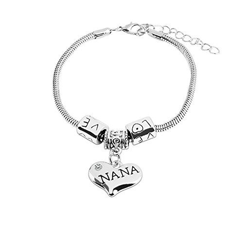 Bling Stars Family Love Clear Crystal Nana Heart Charm Snake Chain Bracelet Family Members Jewelry Gift